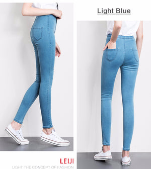 High Waist Full Length Women Casual Stretch Skinny Pencil Jeans