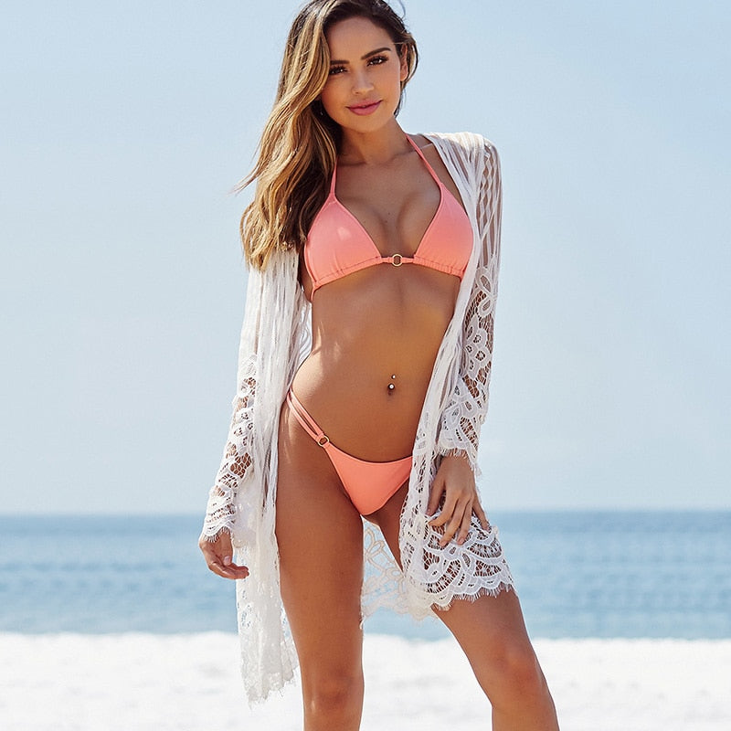 Beach Kimono Solid See Through Floral Crochet Lace Bikini Cover Up