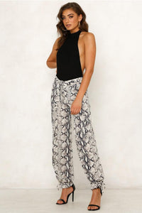 Summer Casual Fashion Snake print lace up Trousers