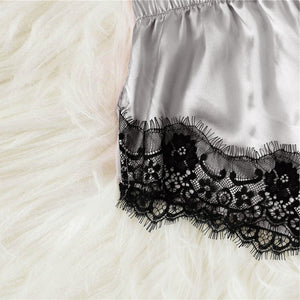Sexy Silver Scallop Lace Trim Satin Cami Top and Shorts Solid Pajama Set