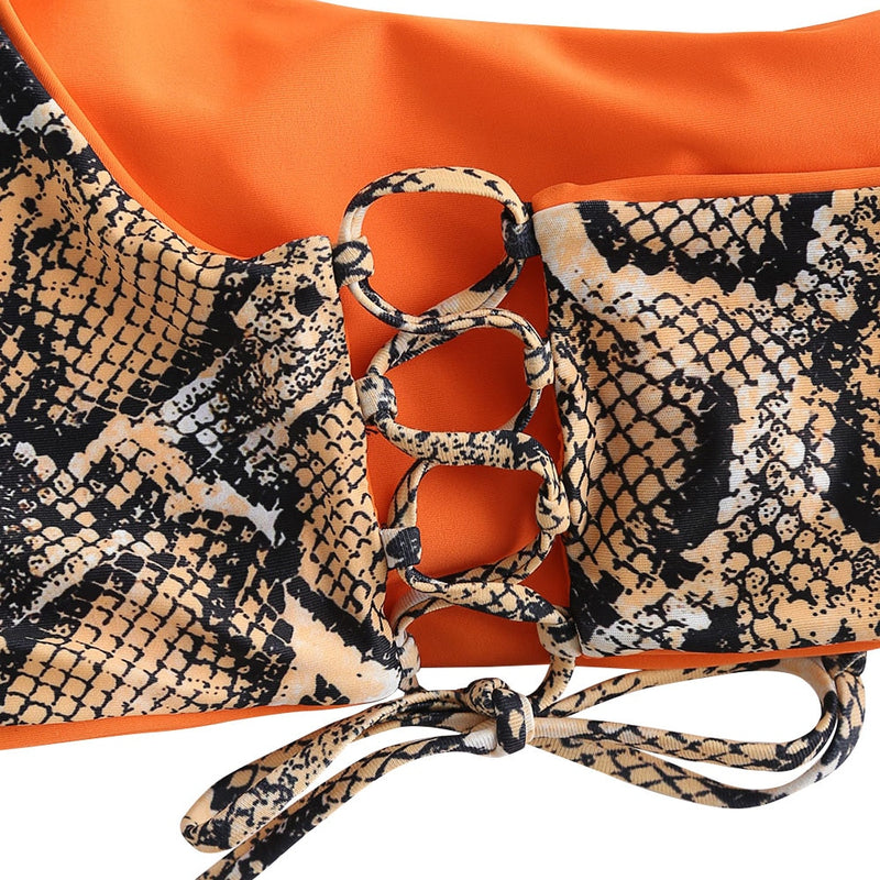 Reversible Bikini Snakeskin Print Two Pieces Set