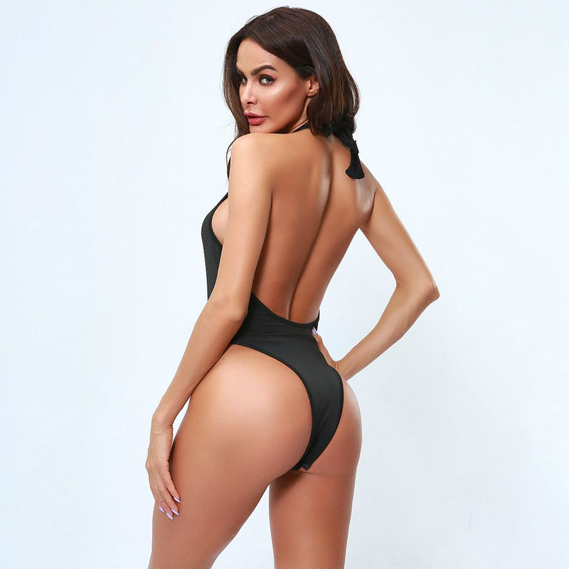 Sexy Provocative Beach Halter Backless Party Night Neon Green Bodysuit