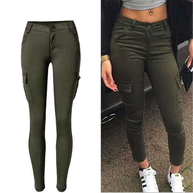 Summer Pencil Cargo Jeans High Waist Camouflage Army Pants