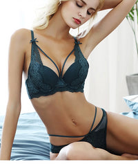 New Green Push Up Sexy Bra & Panties Embroidery Lace Lingerie Set