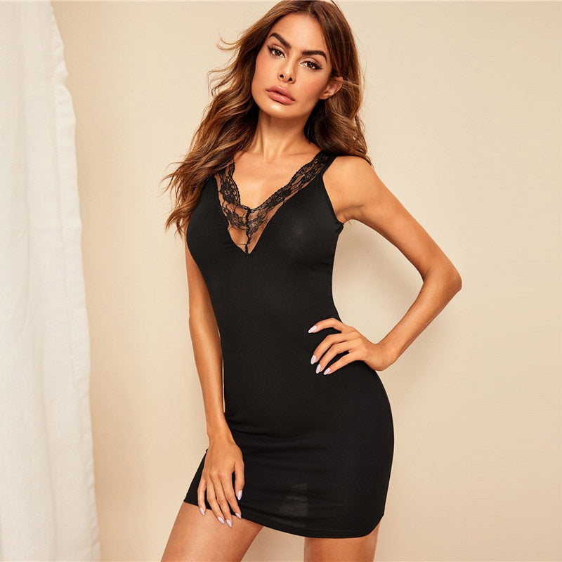 Black Lace Fitted Slip Sexy Nightdress Nightwear