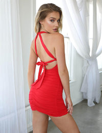 Backless Sexy Bodycon Ruched Bandage Club Party Dress