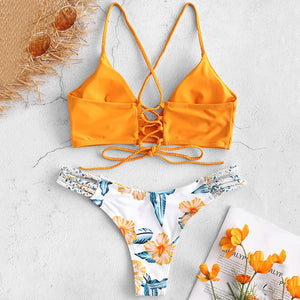 Beach Braided Strap Flower Bikini Set Spaghetti Straps Swim Suit