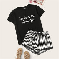 Print Top and Lace Trim Striped Shorts Pajama Set, Unbeatable Beauty