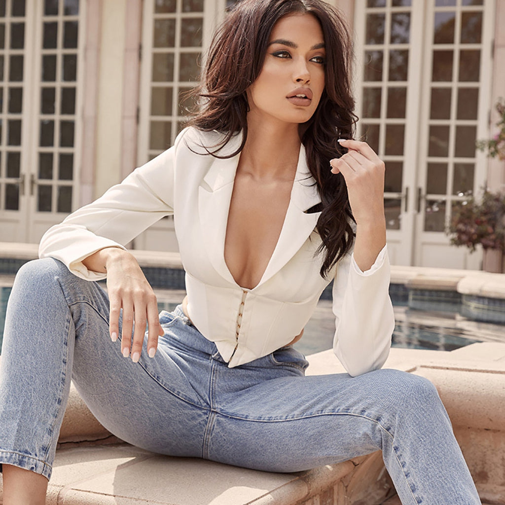 Sexy Vintage Office Wear Deep V Long Sleeve White Blazer