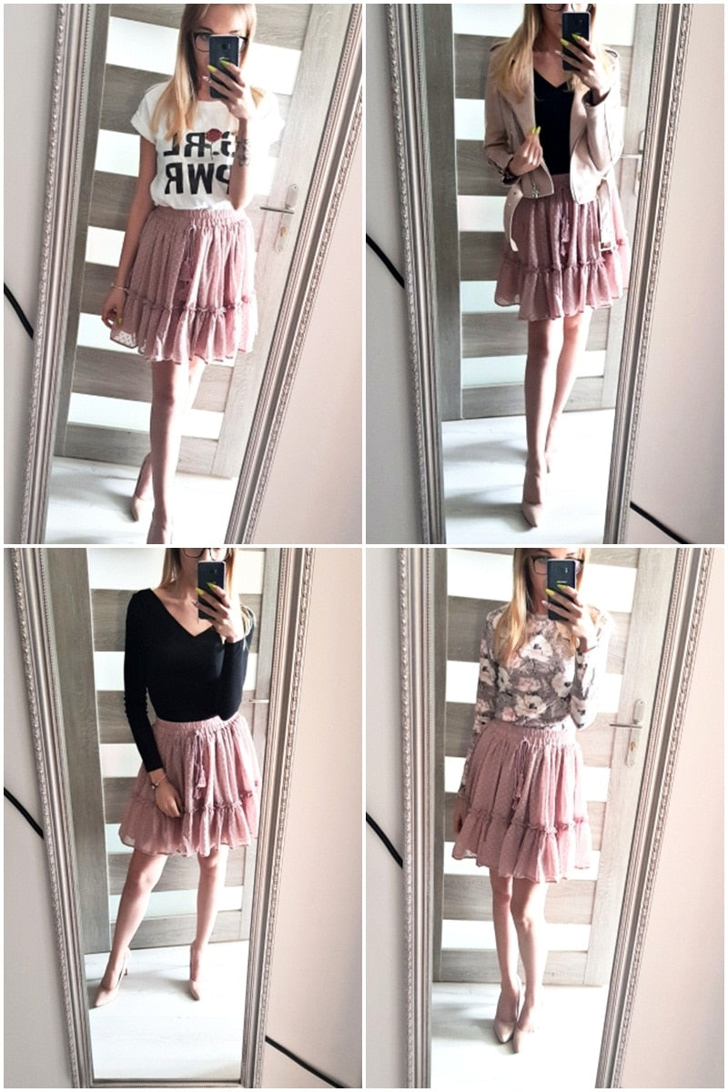 Polka dot mini High waist A line Sexy Summer Skirt, customer pics