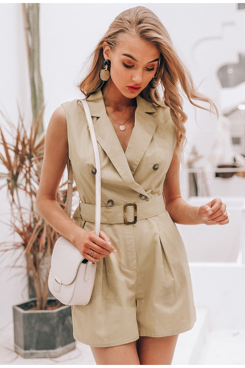 sashes khaki cotton button zipper Office Bodysuit