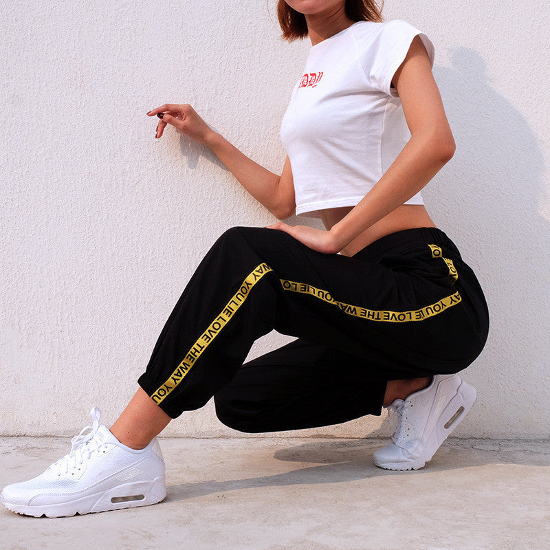 Casual Baggy Sweatpants Loose Comfort, Cotton Side Striped Joggers