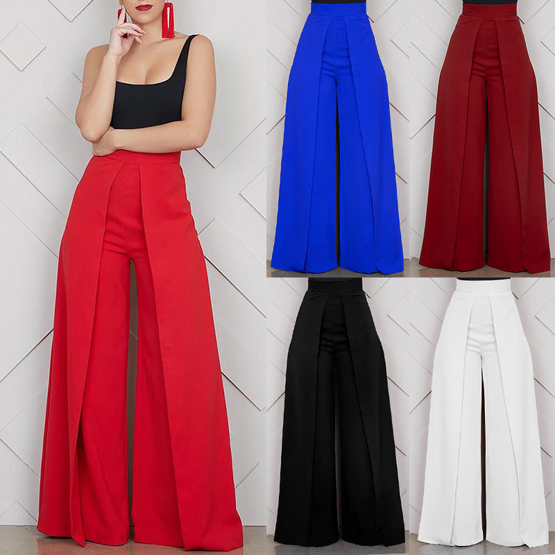 Baggy High Waist Wide Leg Pants Zipper Office Loose Trousers