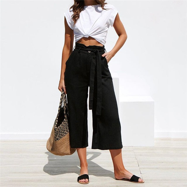 Casual High Waist Straight Capri Casual Pants