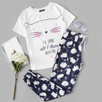 Cute Sleepwear Cat Print Short Sleeve Tee and Blue Pants Pajama Set