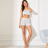 Grey or Purple Frill Trim Camis and Shorts Pajama Set
