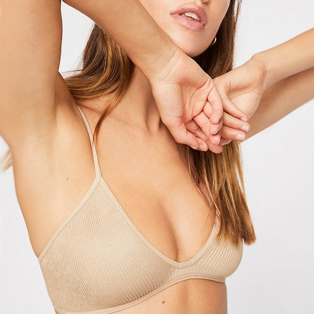 New Cotton Comfortable Wire free Ladies Thin Unpadded Breathable Sexy Bra