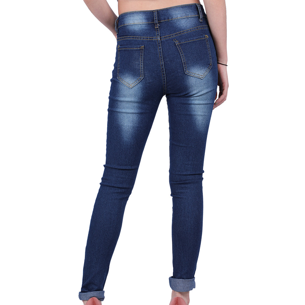 New Dark Blue Jeans Pencil Pants High Waist Ripped Denim