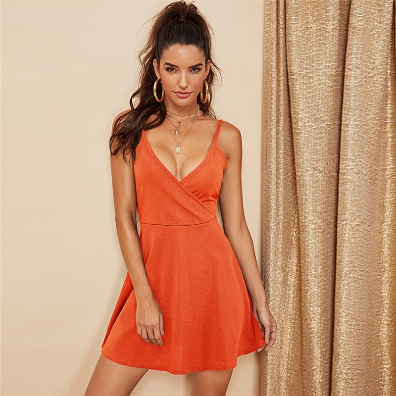 Party Sexy Backless Solid Wrap Cami Club Short Dress