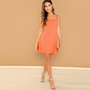 Fit And Flare Solid Dress Straps Dress