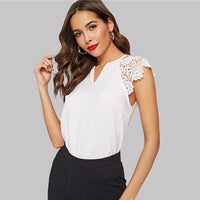Notched Neck Guipure Lace Cap Sleeve