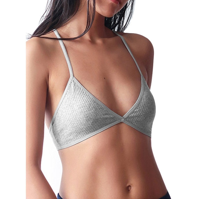 Sexy Bra Ribbed Plunge Comfort 's Cotton Bralette