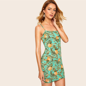 Tropical Print Camis Dress Summer Vacation Beach Dress