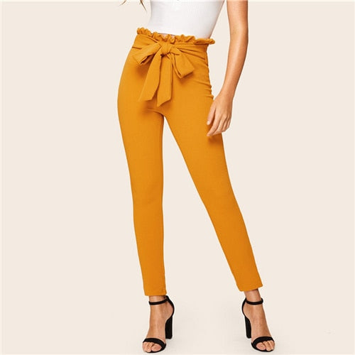 Black Trousers Paper-bag Waist Skinny Pants Office Leggings