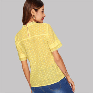 Eyelet Embroidered Lace Insert Mock Neck Solid