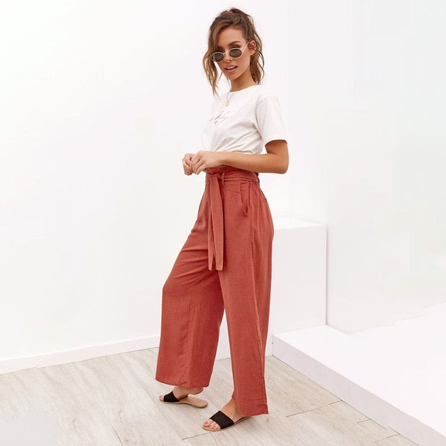 ladies Casual Cotton Linen  high waist wide leg pants