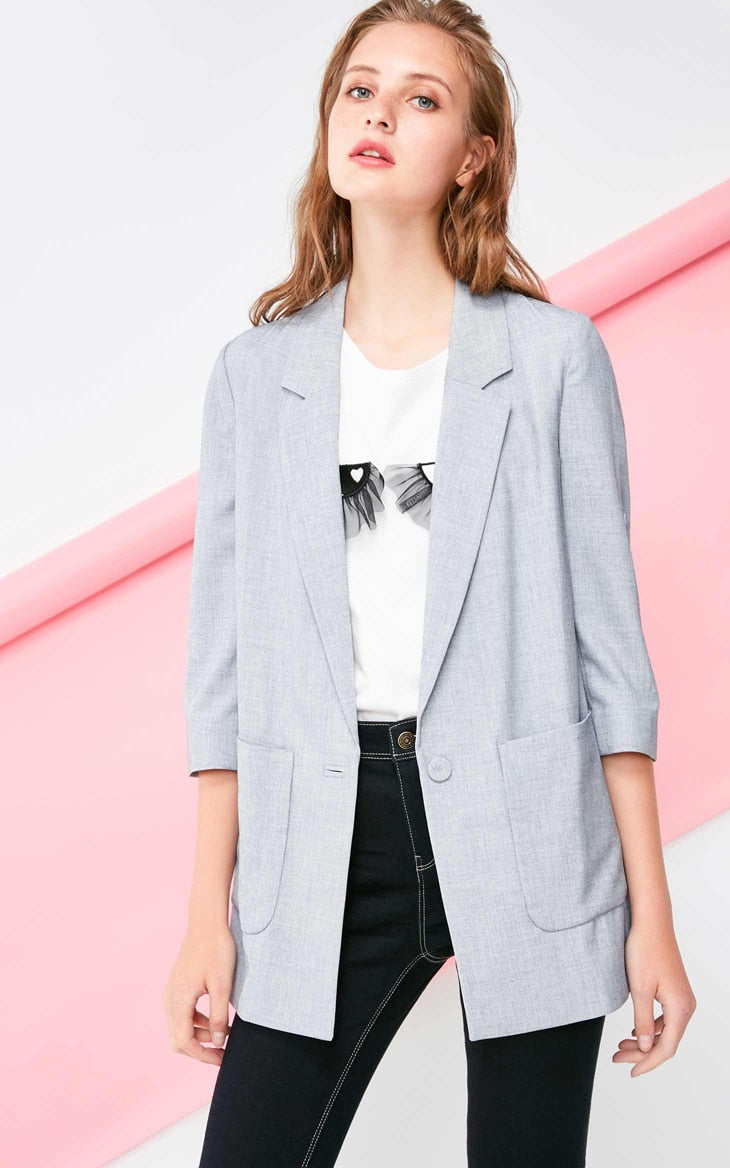 's 3/4 Sleeves Straight Fit Lapel Long Jacket Blazer
