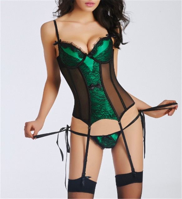 Sexy Corset and Bustier with Cup Girdle Set Breathable Fabric Lingerie
