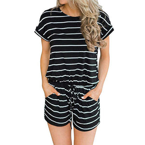Striped Women's Romper Summer Jumpsuit Shorts Casual