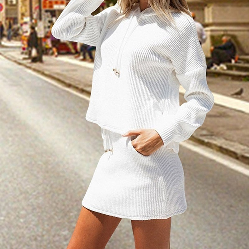 Fashion 2 Pieces Long Sleeve Tops + Mini Skirt Women Lace Up Tops Tracksuit