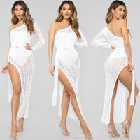 Sexy One Shoulder Hollow Out Crochet Knit Dress Beach Dress Bikini Cover Up