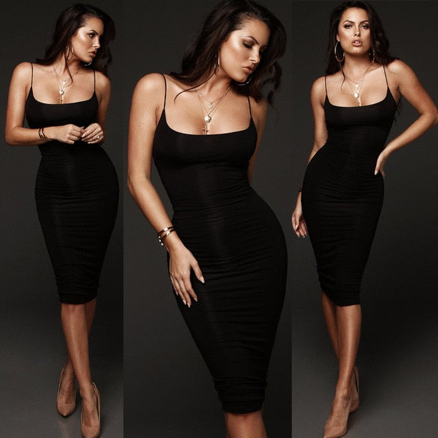 Fashion Bodycon Slim Short Midi Party Night Dress