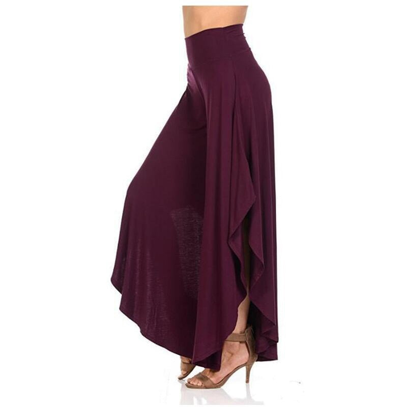 Casual Loose Asymmetrical Patchwork Wide Leg Lady Pants