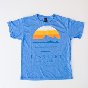 Traveler Malibu Sunset Logo Youth Tee