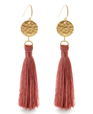 Tassel Earrings with Gold Disk