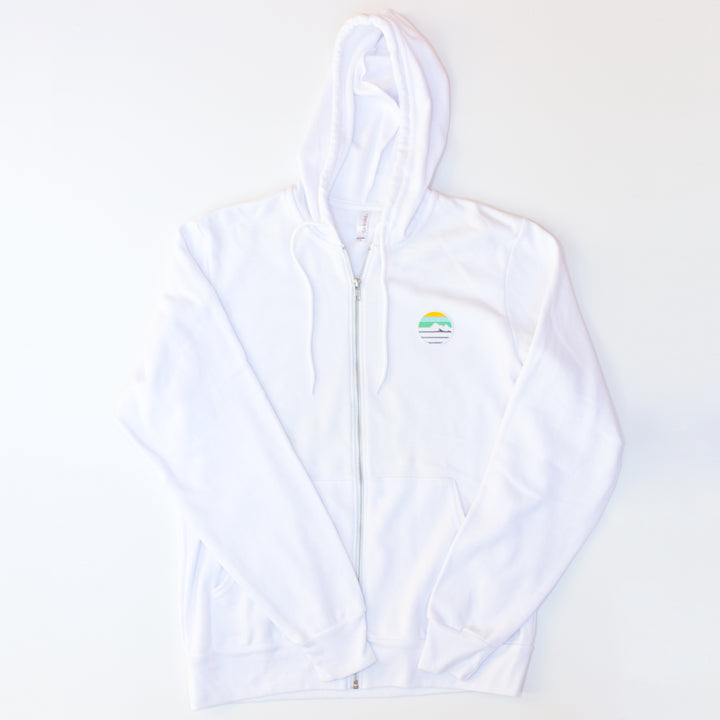 Traveler Patch Zip Hoodie - White