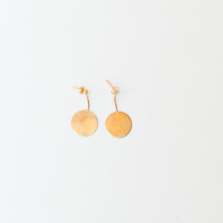 9K Gold Disc Short Drop Earrings