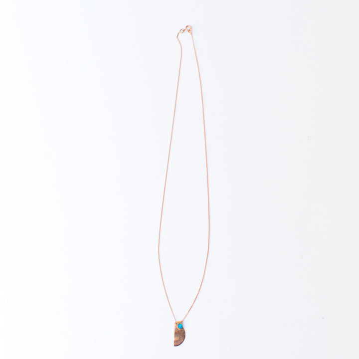 9K Rose Gold Half Moon Lapis Necklace