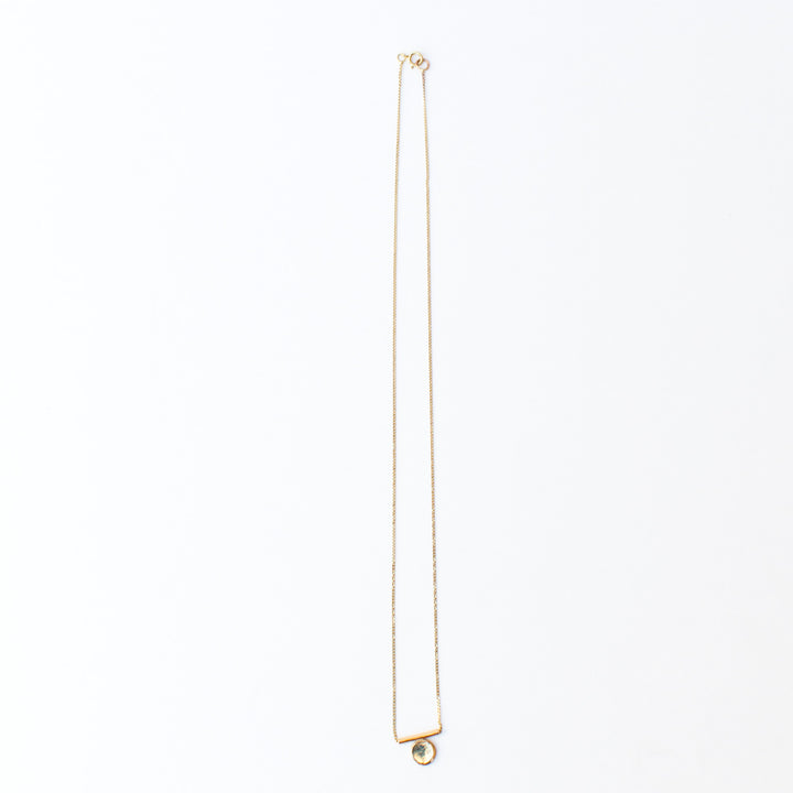 9K Gold Bar Disc Necklace