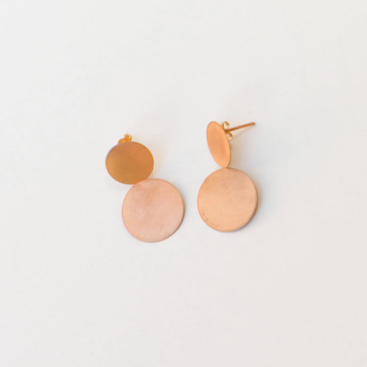 9K Rose Gold Double Disc Earrings
