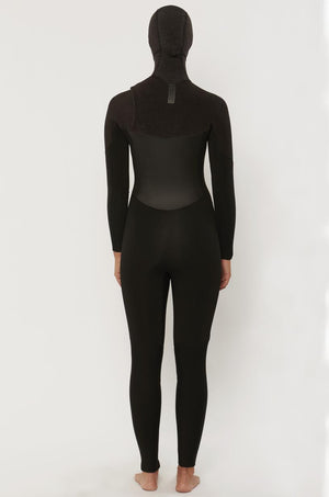Women's 7 SEAS 5/4 Hooded Chest Zip Wetsuit - BLACK