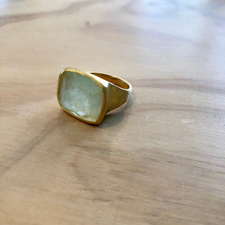 Rectangle Ring Prehnite Ring