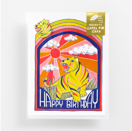 Happy Birthday Rainbow Tiger Lapel Pin Card