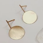 9K Gold Bar/Disc Drop Earrings