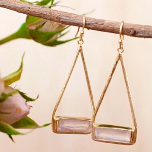 Marina Earrings - Rose Quartz
