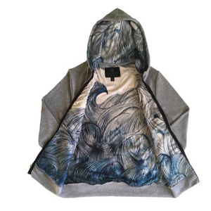 Heather Grey Blue Wave Hoodie - Linda Fahey Lining
